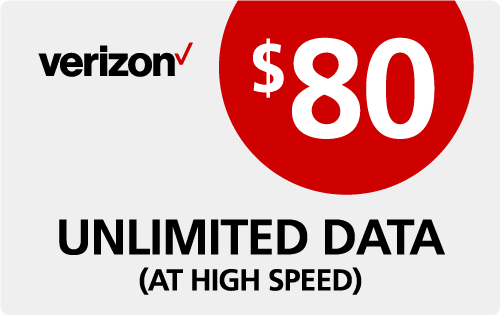 Verizon Wireless Refill $80
